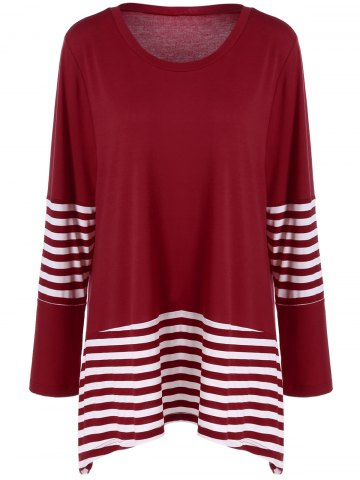Shops Plus Size Striped Panel T-Shirt RED WITH WHITE 4XL