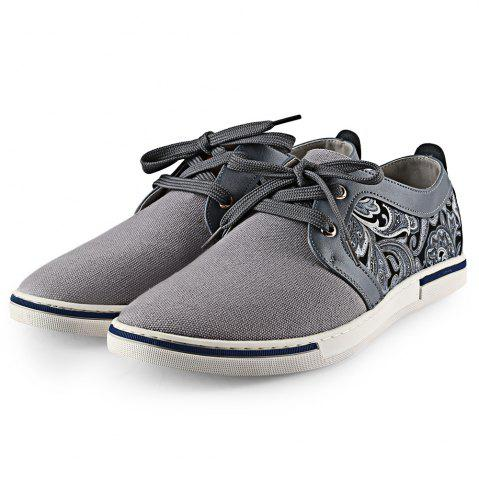 HLA PU Splice Paisley Printed Casual Shoes for Men - Gray - 38