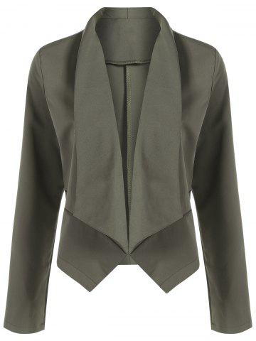 Unique Open Front Shawl Collar Blazer - HAMPTON GREEN L Mobile