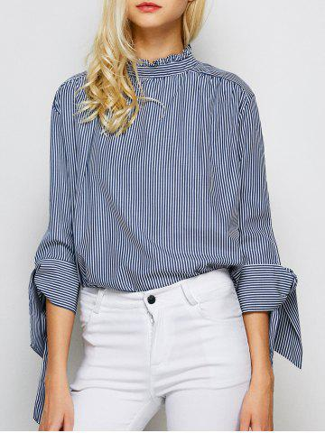 Cheap Stand Collar Back Single Brested Striped Shirt