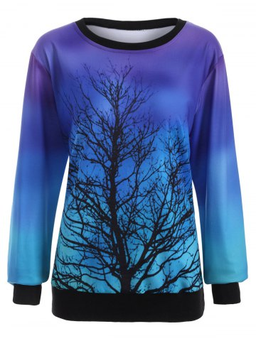 Sweat-shirt de couleur ombre à motif d'arbre Bleu XL
