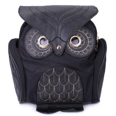 Fancy Stylish Owl Shape Solid Color Design Women Shoulder Satchel - BLACK  Mobile