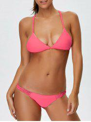 Backless Braided String Plain Bikini