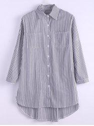 Plus Size Pinstripe Pocket High Low Shirt -