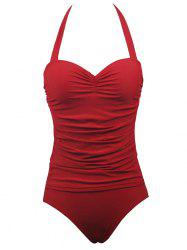 Halter Push Up Ruched One-Piece Swimwear - RED