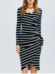 Striped Long Sleeve Knee Length Tight Dress - BLACK L
