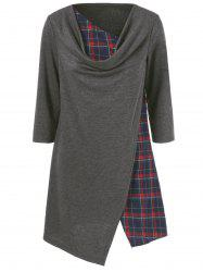 Cowl Neck Plaid Trim Long Tee