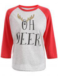 Christmas Deer Horn Sequined Raglan T-Shirt