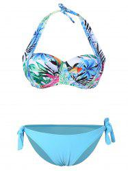 Self Tie Halter Tropical Bikini -