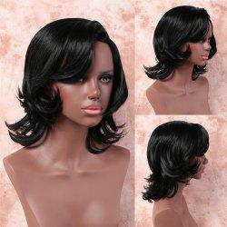 Medium Side Bang Layered Slightly Curled Synthetic Capless Wig