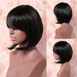 Short Side Bang Layered Straight Synthetic Capless Wig
