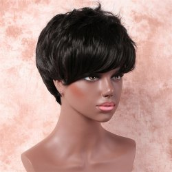 Handsome Short Fluffy Side Bang Straight Heat Resistant Fiber Wig
