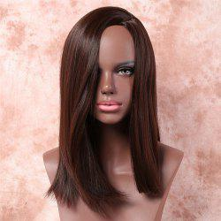 Trendy Silky Straight Side Parting Capless Medium Brown Mixed Synthetic Wig For Women
