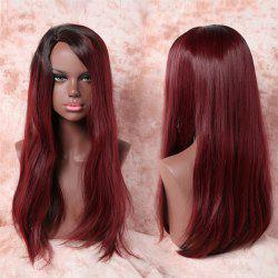 Attractive Silky Straight Side Parting Fashion Long Black Mixed Wine Red Synthetic Adiors Wig For Women
