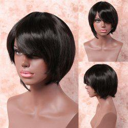 Noble Black Straight Capless Stylish Short Side Bang Heat Resistant Fiber Wig For Women