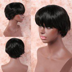 Elegant Black Inclined Bang Synthetic Trendy Straight Short Capless Wig For Women