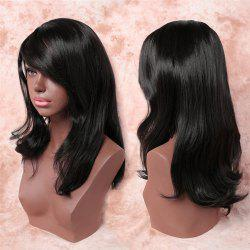 Trendy Straight Tail Adduction Long Noble Black Side Bang Synthetic Adiors Wig For Women