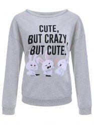 Drop Shoulder Cartoon Print Sweatshirt