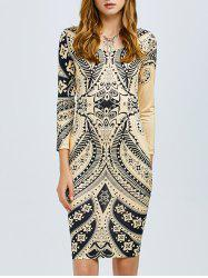 Print Cut Out Bodycon Dress