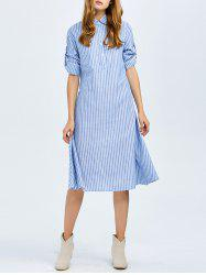 Button Stripe Casual A Line Shirt Dress