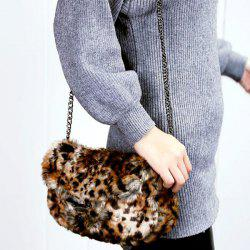 Faux Fur Colour Block Chain Crossbody Bag