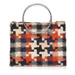 Metal Ring Magnetic Closure Plaid Tote Bag