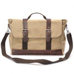 Buckle Strap Canvas Messenger Bag - KHAKI