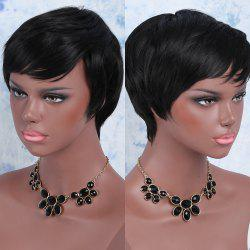 Short Silky Straight Oblique Bang Pixie Synthetic Wig