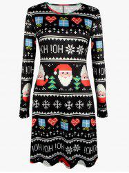 Plus Size Mosaic Santa Print A-Line Dress