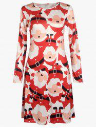 Christmas Plus Size Santa Print Dress