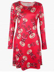 Plus Size Christmas Deer Print Dress