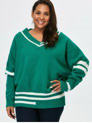 Plus Size V Neck Cricket Striped Sweater - GREEN