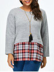 Plus Size Long Sleeve Plaid Insert Sweater