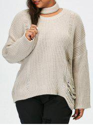 Plus Size Pullover Ripped Sweater - LIGHT GRAY 5XL