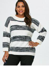 Plus Size Crew Neck Block Stripe Sweater - WHITE