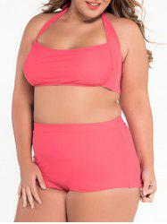 Retro Halter High Waist Plus Size Bikini