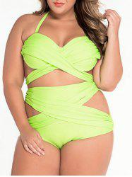 Cut Out Bandeau High Waist Plus Size Bikini