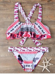 Straps Patterned Criss Cross Bikini Set - COLORMIX L