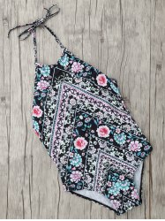 Ethnic Floral Halter One Piece Swimwear