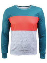 Crew Neck Color Block Spliced Flocking Sweatshirt