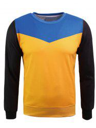 Sweat-shirt en flocage en couleur jointive à col rond -