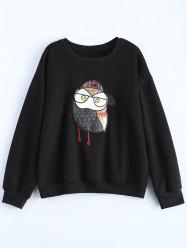 Plus Size Owl Graphic Sweatshirt - BLACK 5XL