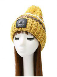 Headset Label Thicken Crochet Knit Striped Pom Hat