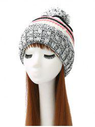 Faux Pearl Knit Thicken Crochet Striped Hat