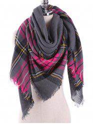Plaid Pattern Blanket Wrap Scarf with Fringed Edge