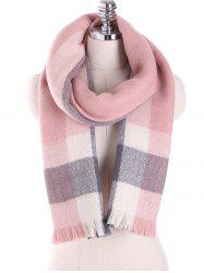 Oblong Plaid Pattern Long Scarf with Fringed Edge