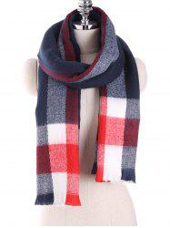 Oblong Plaid Pattern Long Wrap Scarf with Fringed Edge