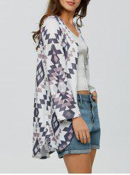Collarless Open Front Long Cardigan -