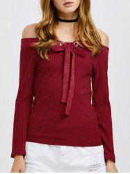 Off The Shoulder Tie Front Knitwear -