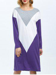 Drop Shoulder Color Block Dress -